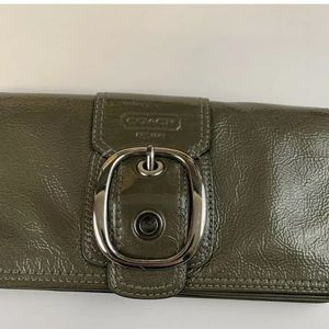 Coach Bags - Coach Wristlet Wallet Clutch Large Solid Green